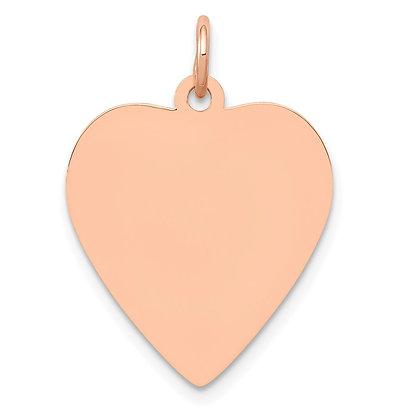 QG 14K Rose Polished Heart Shaped Disc Pendant