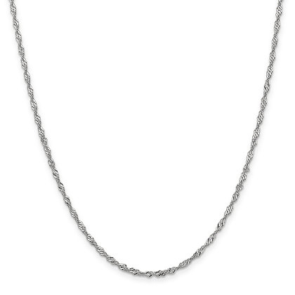 QG 14K White Gold 2.0mm SINGAPORE CHAIN