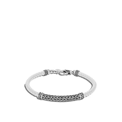 JOHN HARDY Classic Chain Station White Woven Leather Bracelet S