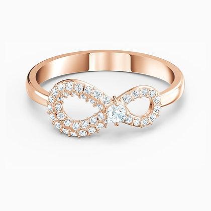 SWAROVSKI  infinity Ring, White, Rose-gold tone plated Size 6,7.