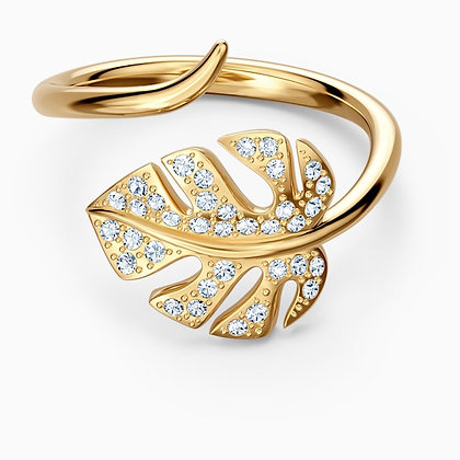 SWAROVSKI  New Tropical Leaf Open Ring, White, Gold-tone plated 6,7,8.
