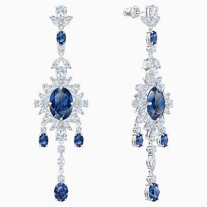 SWAROVSKI Palace Chandelier Pierced Earrings, Blue, Rhodium plated