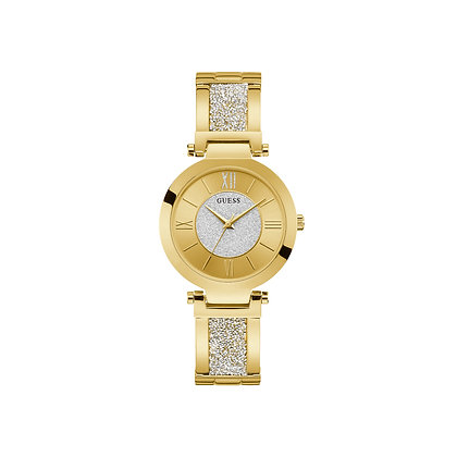 GUESS GEMiNi WOMEN'S WATCH White Sunray Dial Rose Gold Plated Stainless Steel