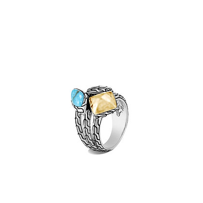 JOHN HARDY Classic Chain Hammered Ring with Turquoise SZ 8