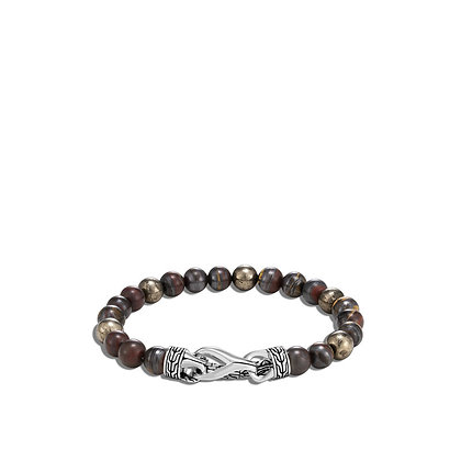 JOHN HARDY Asli Classic Chain Link Bead Bracelet with Tiger Iron and Pyrite