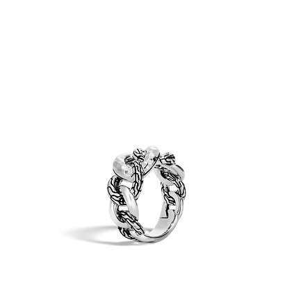 JOHN HARDY Classic Chain Hammered Silver Small Link Ring Size 7