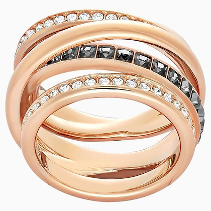 SWAROVSKI Dynamic Ring, Gray, Rose-gold tone plated size 8,9.