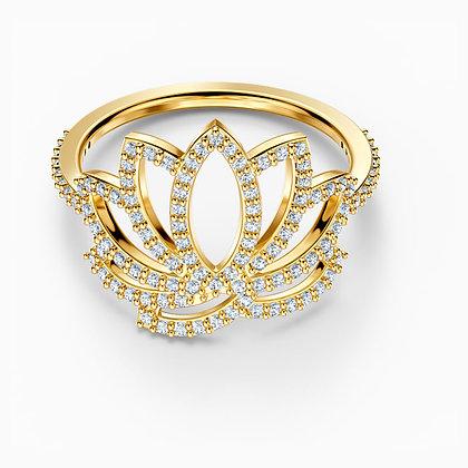 SWAROVSKI  Symbolic Lotus Ring, White, Gold-tone plated Size 6,7,8,9.