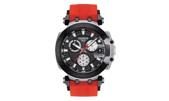TISSOT T-RACE CHRONOGRAPH MEN'S WATCH Black Dial Red Silicone Strap
