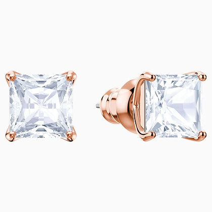 SWAROVSKI Attract Stud Pierced Earrings, White, Rose-gold tone plated