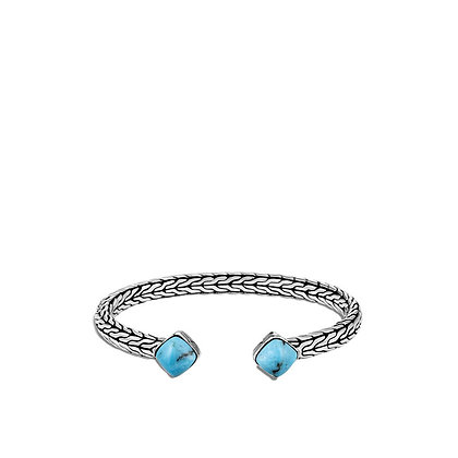 JOHN HARDY Classic Chain Flex Cuff in Silver with Turquoise M-L 5mm