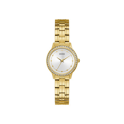 GUESS CHELSEA WOMEN'S DRESS WATCH Silver Dial Gold Plated Stainless Steel