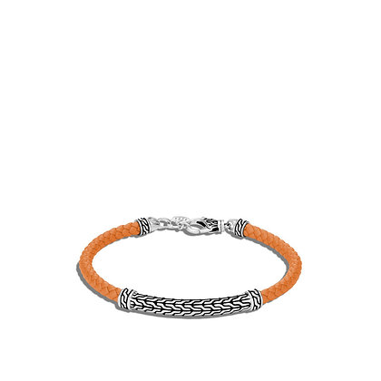 JOHN HARDY Classic Chain Station Orange Woven Leather Bracelet S