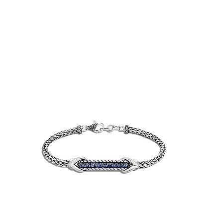 JOHN HARDY Asli Link ID Bracelet with Blue Sapphire M 3.5mm