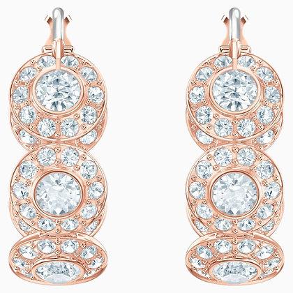 SWAROVSKI Angelic Hoop Pierced Earrings, White, Rose-gold tone plated