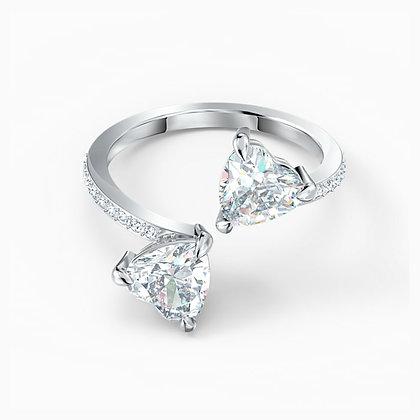 SWAROVSKI  Attract Soul Heart Ring, White, Rhodium plated Size 6,7.