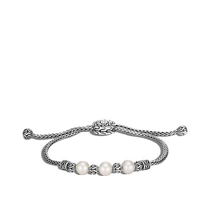 JOHN HARDY Classic Chain Pull Through Bracelet, Freshwater Pearl M-L