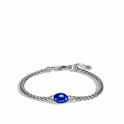 JOHN HARDY Classic Chain Bracelet with Lapis and Diamond M-L 3.5mm