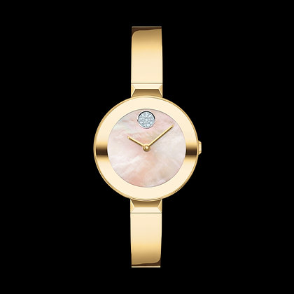 MOVADO BOLD BANGLE Yellow Gold Plated Pale Yellow Gold MOP Sunray Dial