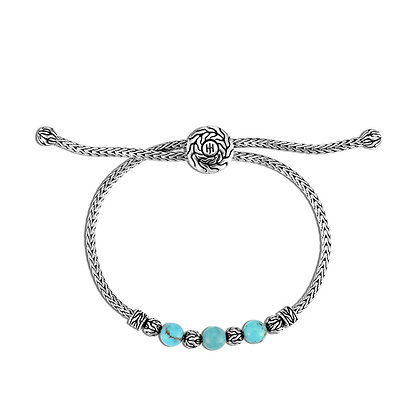 JOHN HARDY Classic Chain Pull Through Bracelet with Turquoise