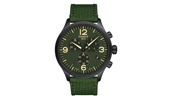 TISSOT CHRONO XL MEN'S WATCH Green Dial Black PVDCase