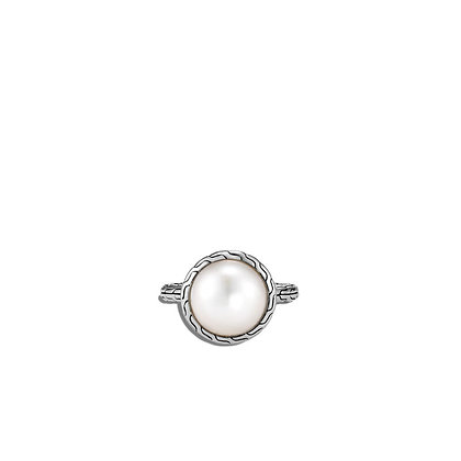 JOHN HARDY Classic Chain Ring with Mabe Freshwater Pearl SZ 7