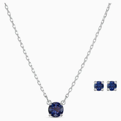 SWAROVSKI  Attract Round Set, Blue, Rhodium plated