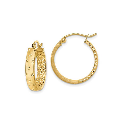 QG 14k Polished And Diamond-Cut In/Out Hoop Earrings