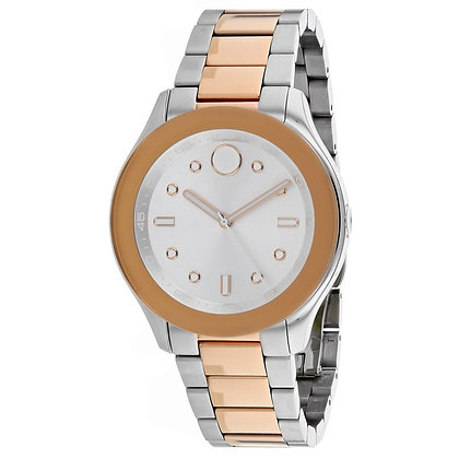 MOVADO BOLD WOMEN'S Silver Dial 2 Tone Rose Gold Stainless Steel