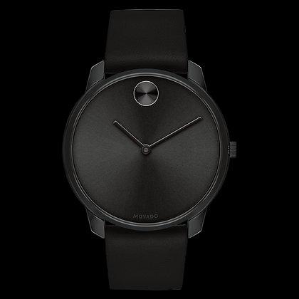 MOVADO BOLD THIN Black Dial Black Leather Strap