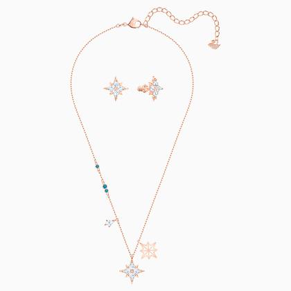 SWAROVSKI Symbolic Star Set, White, Rose-gold tone plated