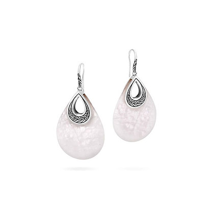 JOHN HARDY Classic Chain Teardrop Earring with White Quartzite