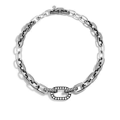 JOHN HARDY Dot Silver Graduated Link Necklace Size 18