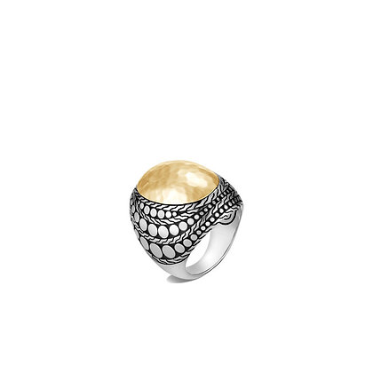 JOHN HARDY Dot Hammered Dome Ring with 18k Yellow Gold dome SZ 7