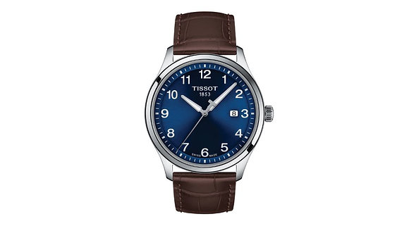 TISSOT GENT XL CLASSIC MEN's WATCH Blue Dial Brown Leather Strap