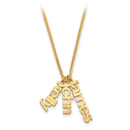 QG Gold Plated Sterling Silver NAME Charms Necklace