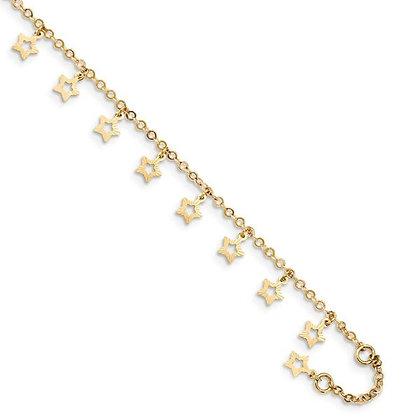 QG 14k Gold Polished And Textured Star Anklet