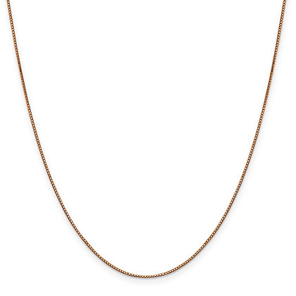 "QG 14K Rose Gold .84mm BOX LINK 20"" CHAIN"