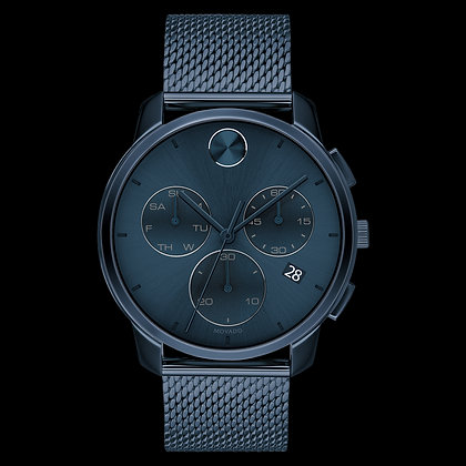 MOVADO BOLD THIN Blue Chronograph Dial Mesh Bracelet
