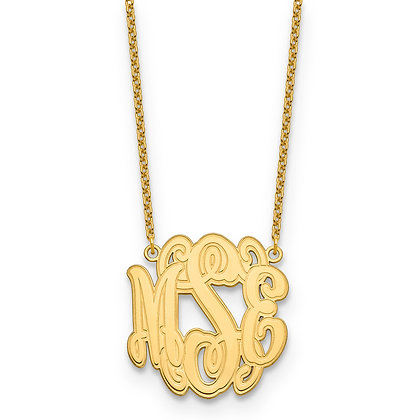 QG Gold Plated Sterling Silver CIRCULAR ETCHED OUTLINE MONOGRAM PLATE Necklace