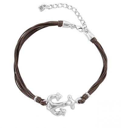 UNOde50 SHORT ANCHOR NECKLACE Leather
