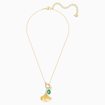 SWAROVSKI  New-Stunning Ginko Necklace, Green, Gold-tone plated