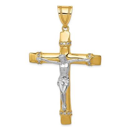 QG 14k Two-Tone CZ Crucifix Pendant