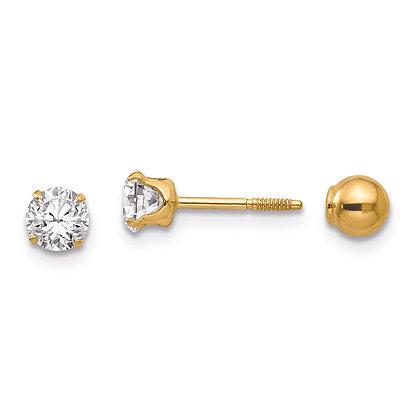 QG 14k Yellow Gold Madi K Polished Reversible CZ/ 4mm Ball Earrings