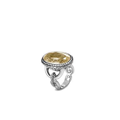 JOHN HARDY Classic Chain Knife Edge Ring, Rutilated Quartz, Diamonds SZ 7