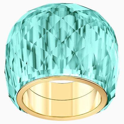 SWAROVSKI Nirvana Ring, Aqua, Gold-tone PVD size 7,8.