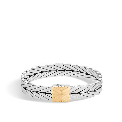 JOHN HARDY Modern Chain Bracelet with 18k Yellow Gold Clasp M 11mm