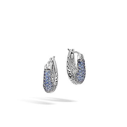 JOHN HARDY Classic Chain Arch Silver Sm Hoop Earrings W/ Blue Sapph 17mm
