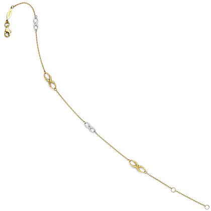 QG Leslie's 14K Two-Tone Polished Anklet With 1in Ext.