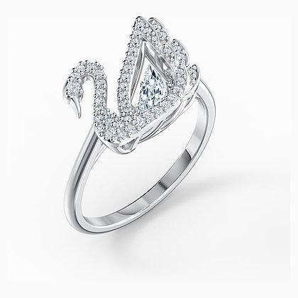 SWAROVSKI  Dancing Swan Ring, White, Rhodium plated size 6,7